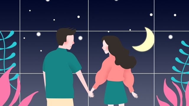 romantic love couple hand in hand, Window, Night, Appointment illustration image