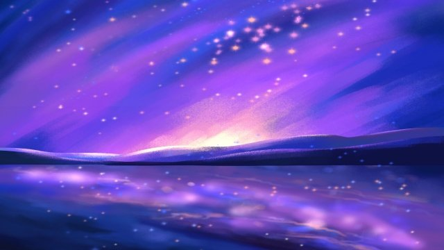romantic starry sky moonlight reflection, Lake Surface, Tree, Silhouette illustration image