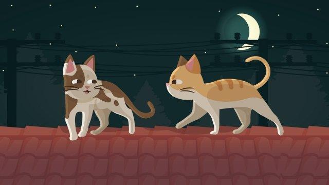 छत जानवर बिल्ली रात चित्रण छवि