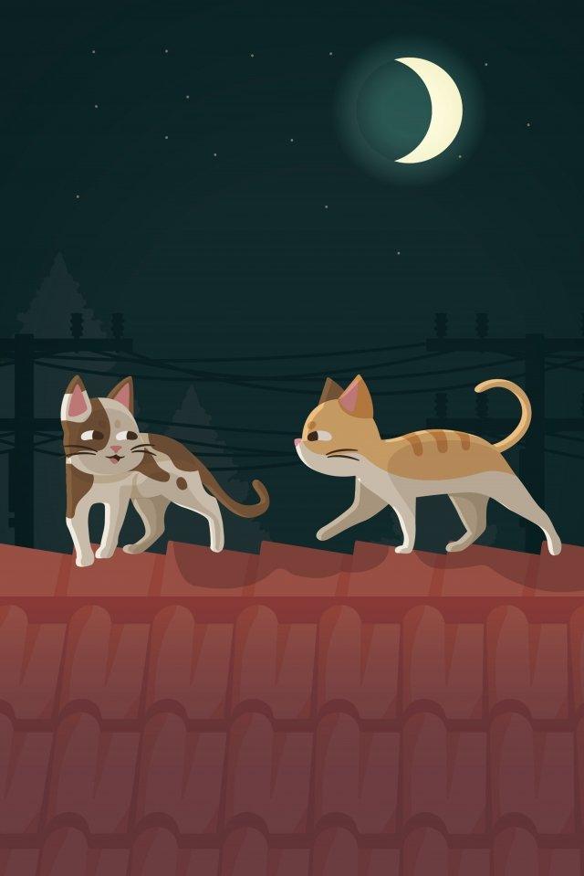 屋根動物猫夜 イラスト素材
