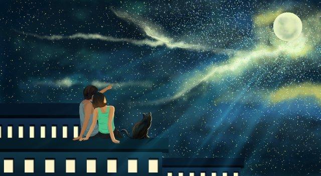 mái nhà thành phố ánh trăng Hình minh họa