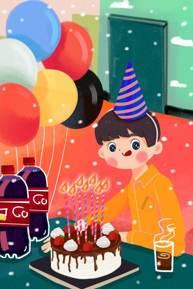 天台上過生日的男孩插畫海報 天台 生日 生日快樂 男孩 蠟燭 可樂 咖啡 生日蛋糕 綠色 紅色 氣球 橙色 黃色天台  生日  生日快樂PNG和PSD圖片素材 illustration image