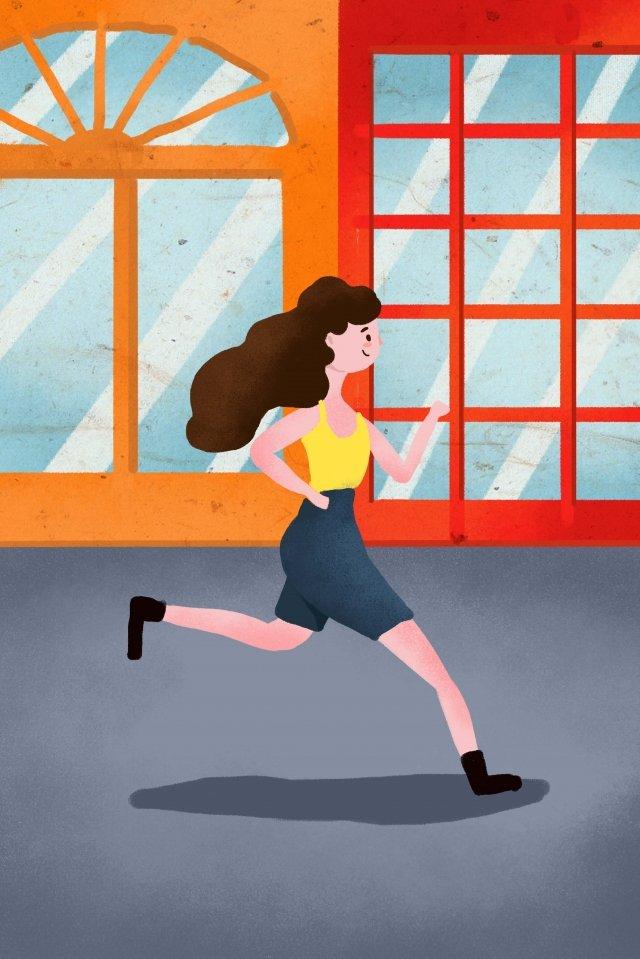 運行健身城市女性健身運行圖 插畫素材