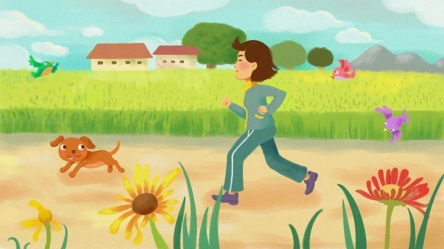 早上跑步鍛煉早上跑步 插畫素材 插畫圖片