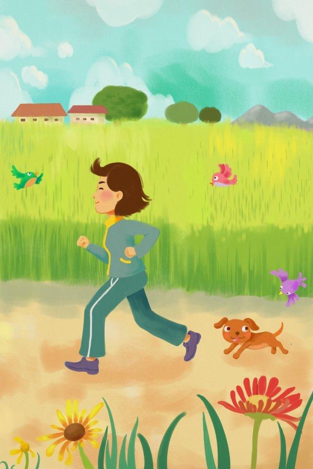 早上跑步鍛煉早上跑步 插畫素材