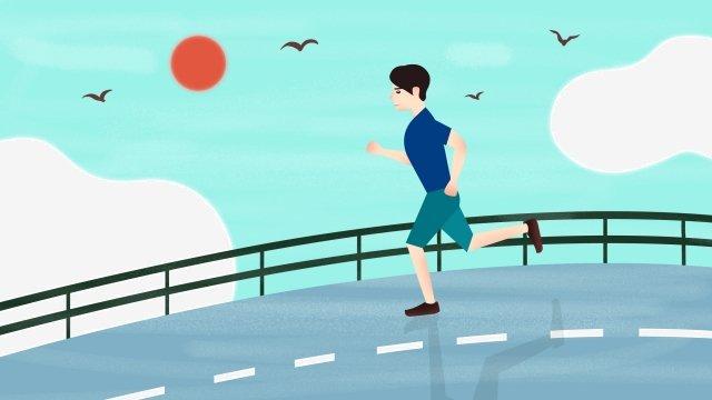실행 모션 남자 아침 실행 삽화 소재 삽화 이미지