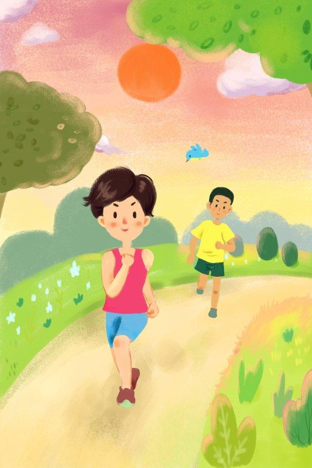 跑步運動鍛煉早晨鍛煉 插畫素材