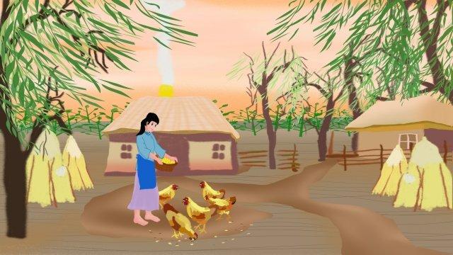 cô gái nông thôn nuôi gà hàng ngày Hình minh họa Hình minh họa