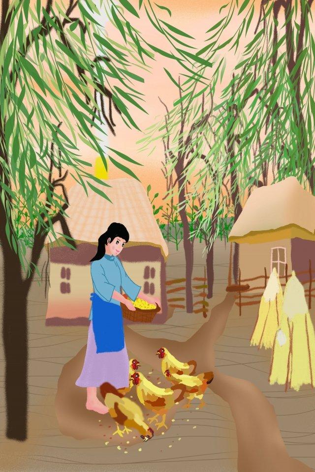 農村農場の少女毎日給餌チキン イラスト画像