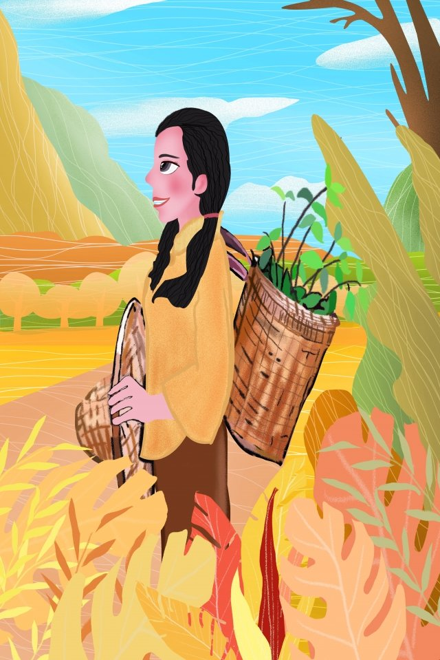 農村農場の少女の毎日のイラスト イラスト画像