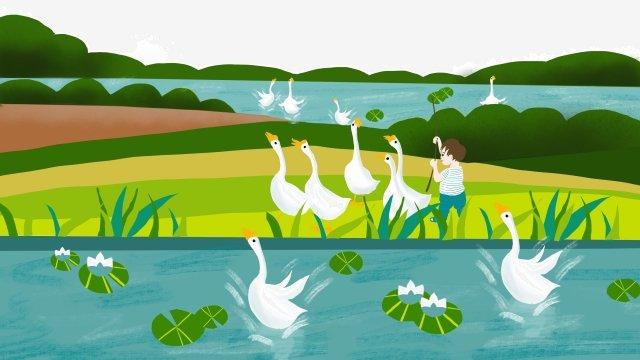 農村フィールド池側ガチョウ赤ちゃん イラスト素材 イラスト画像