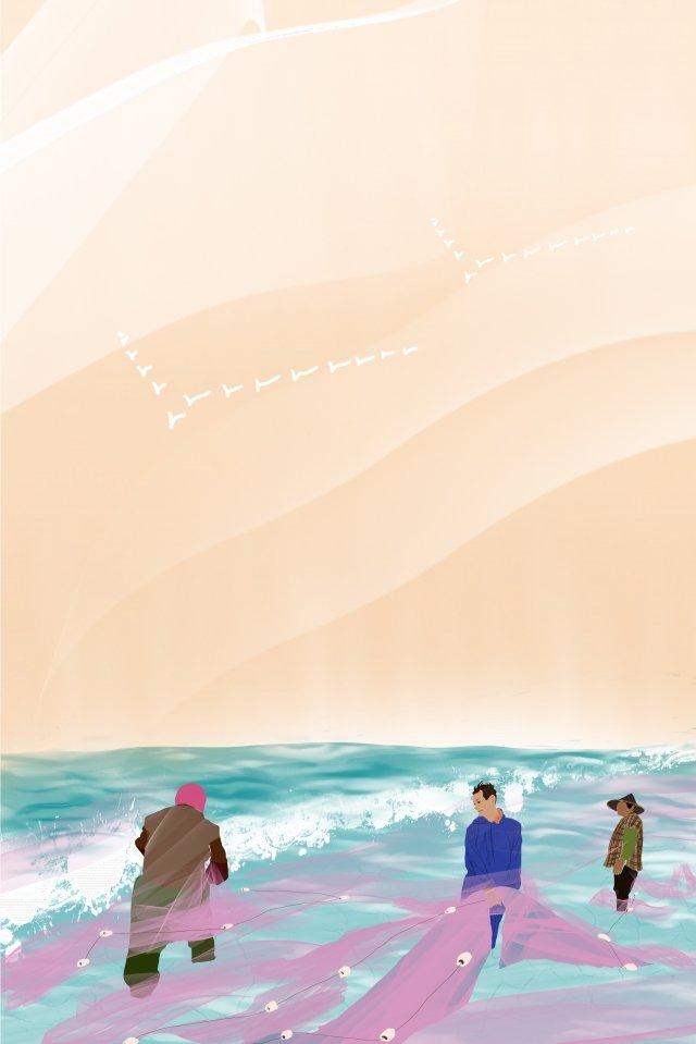 農村漁民海邊網 插畫素材 插畫圖片