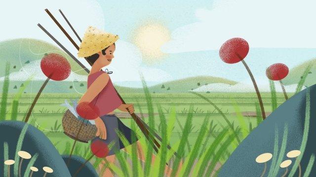 農村捕魚少年生活 插畫素材 插畫圖片