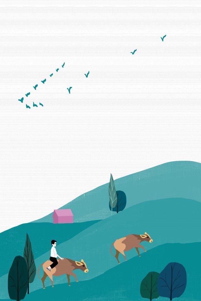 農村山坡牛海報 插畫素材 插畫圖片