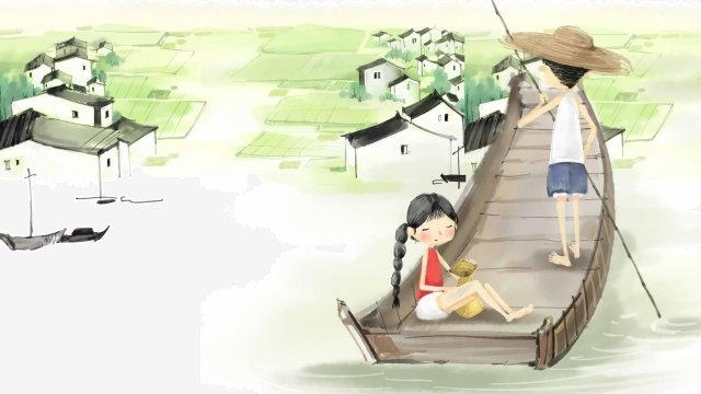 農村江南ウォータータウンシップの背景素材 イラスト素材