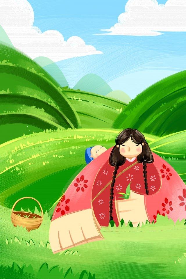 農村生活背景茶採摘婦女 插畫素材