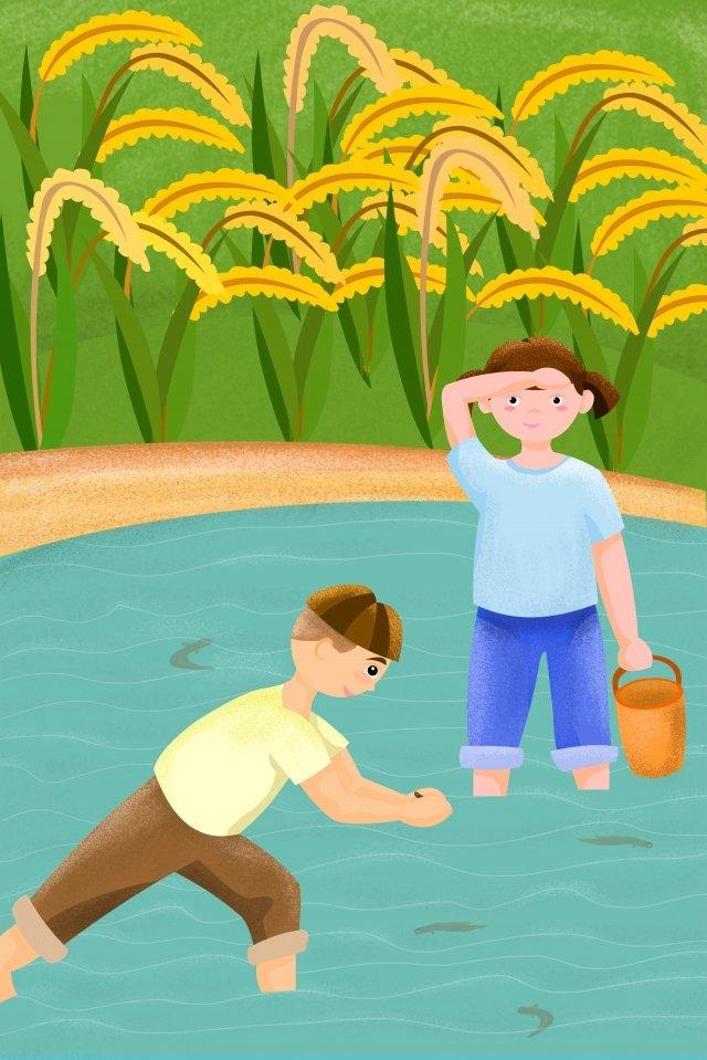 農村生活粘土泥池 插畫素材 插畫圖片
