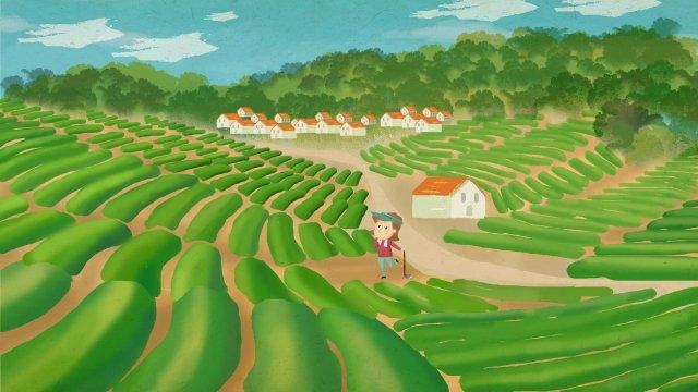 農村生活フィールド山麓住宅 イラスト素材 イラスト画像
