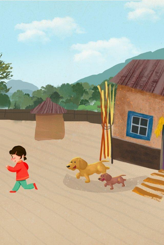 農村生活山麓小屋的寶貝女兒 插畫素材