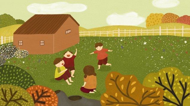 農村生活遊戲的孩子 插畫素材 插畫圖片