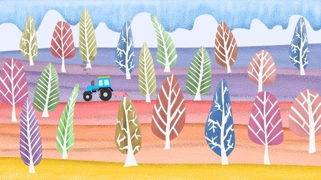 農村生活樹林拖拉機 插畫素材 插畫圖片