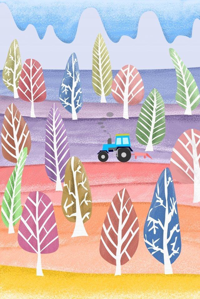 農村生活樹林拖拉機 插畫素材