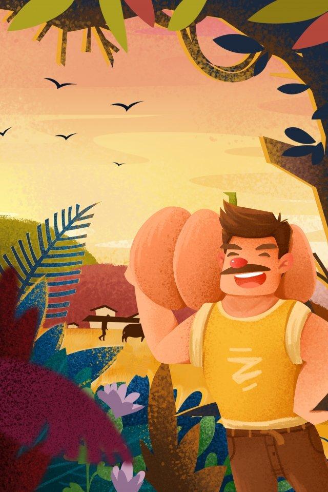 農村生活手繪農村新農村建設新形象 插畫素材