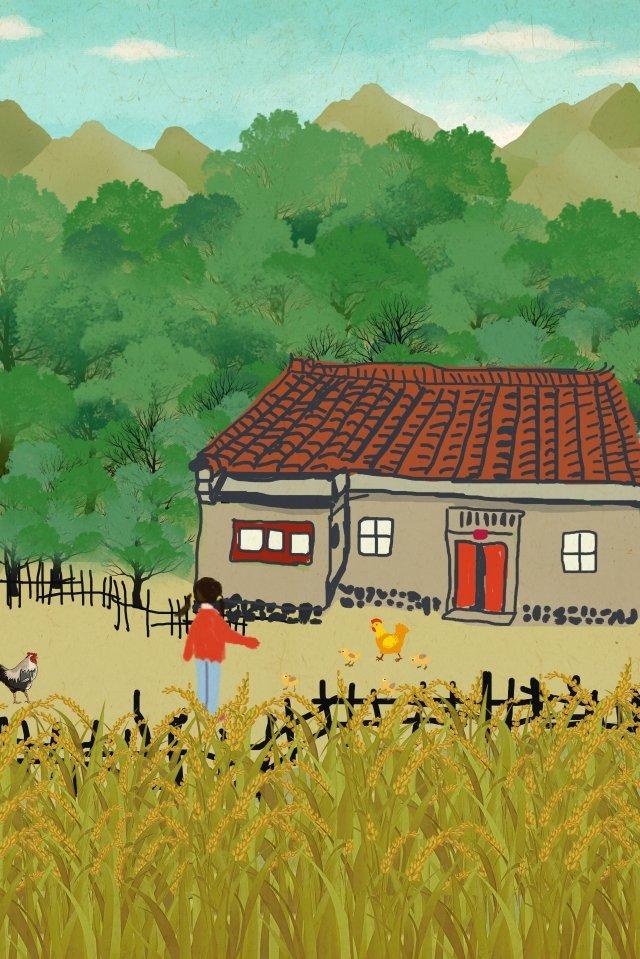 農村生活山腳房子圍欄 插畫素材
