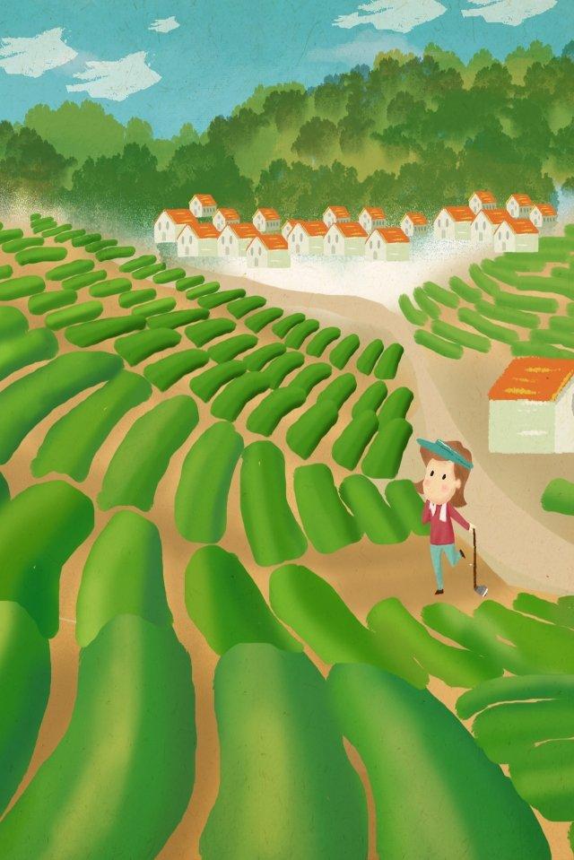 農村生活山腳足湖家庭農民 插畫素材