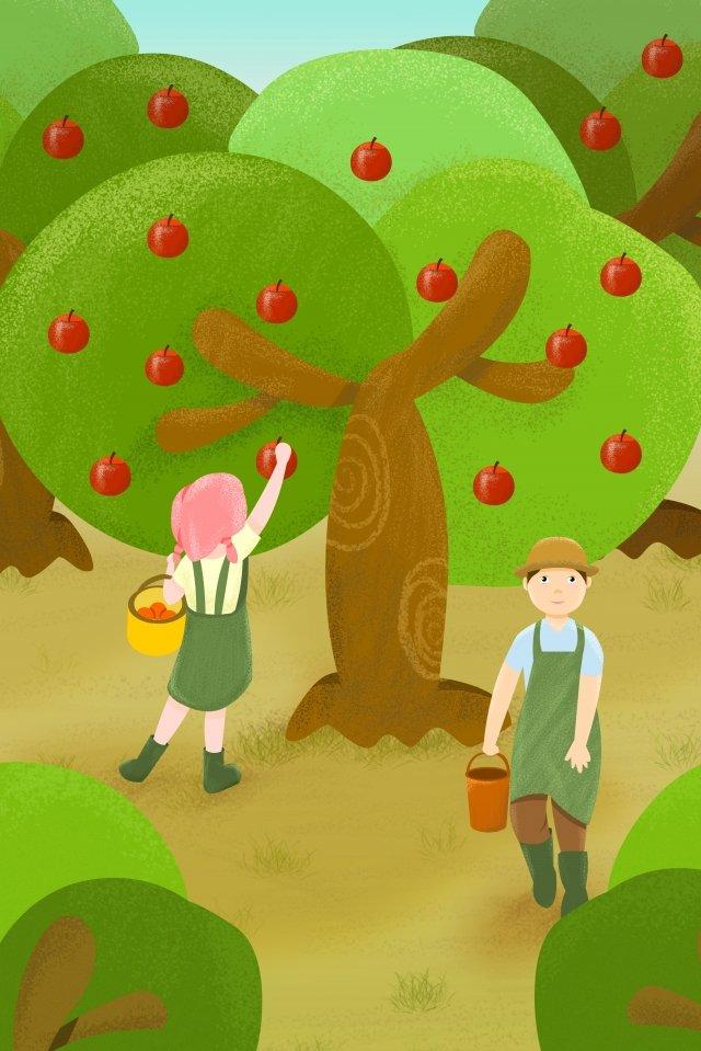 農村生活果園採摘水果 插畫素材 插畫圖片
