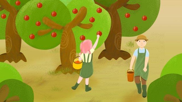 農村生活果園採摘水果 插畫素材