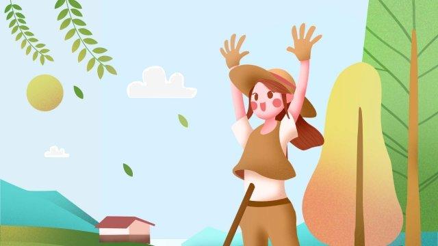 農村生活農村美麗 插畫素材 插畫圖片