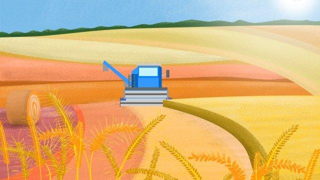 ग्रामीण जीवन दृश्य गेहूं की फसल काटते हैं चित्रण छवि चित्रण छवि