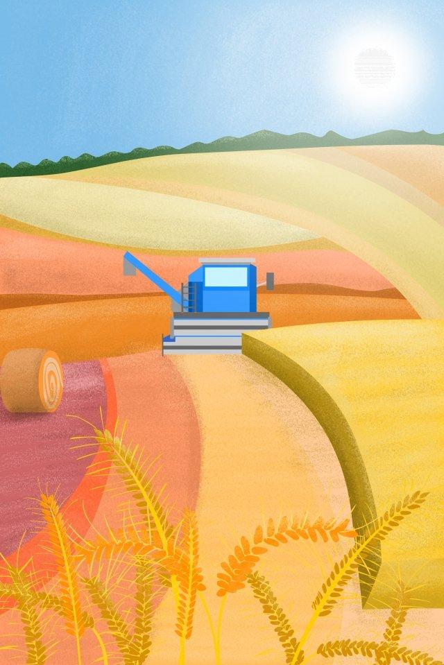農村生活場景削減小麥收穫 插畫素材