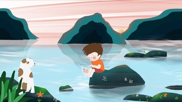 農村生活海邊的孩子 插畫素材 插畫圖片