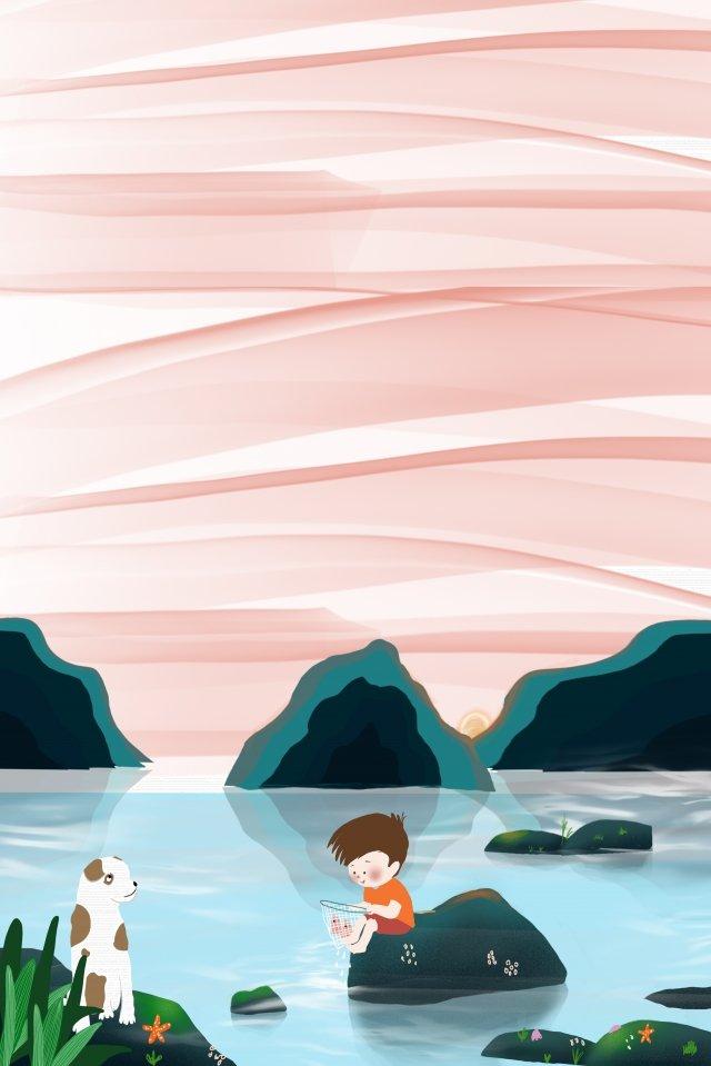 農村生活海邊的孩子 插畫素材