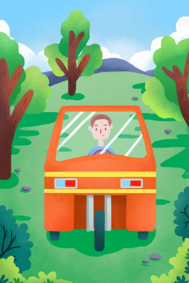 農村生活拖拉機樹 插畫素材 插畫圖片