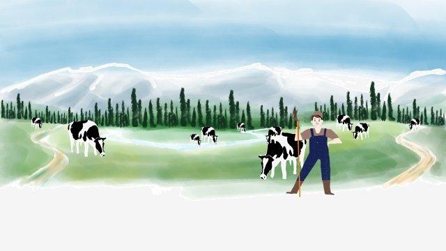 農村牧場新疆天山 插畫素材