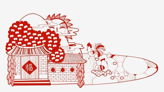農村農村雞肉剪紙 插畫素材