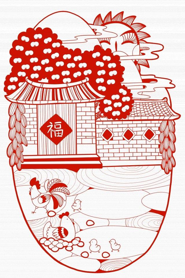農村農村雞肉剪紙 插畫圖片
