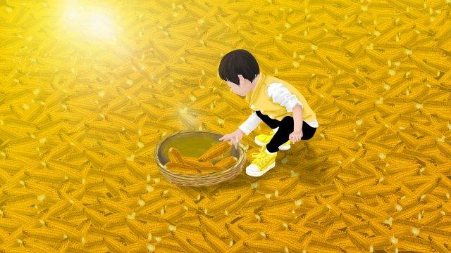 農村農村家玉米 插畫素材
