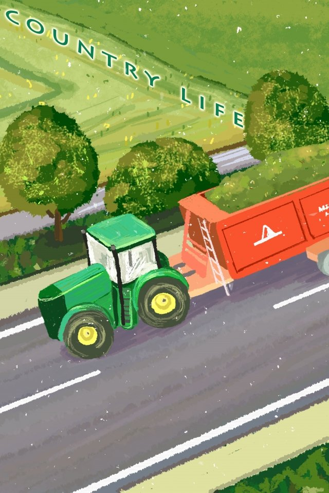 rural small road tractor transport llustration image
