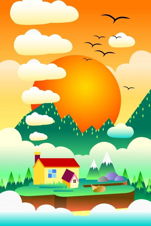 rural sunset evening rural, Life, Old Ox, Illustration illustration image