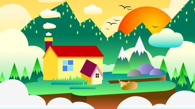 農村日落晚上農村 插畫素材 插畫圖片