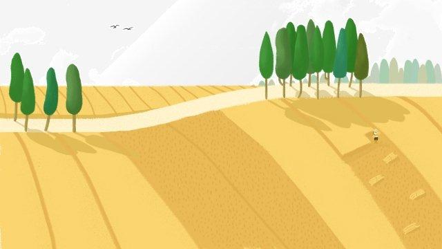 ग्रामीण गेहूँ के खेत की कटाई छोटी सड़क चित्रण छवि चित्रण छवि