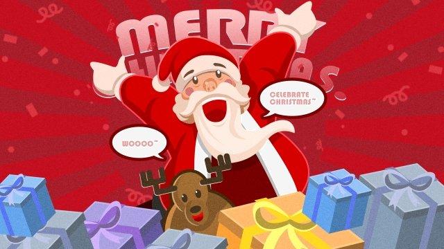 سانتا كلوز هدايا عيد الميلاد الأيائل عيد الميلاد مواد الصور المدرجة
