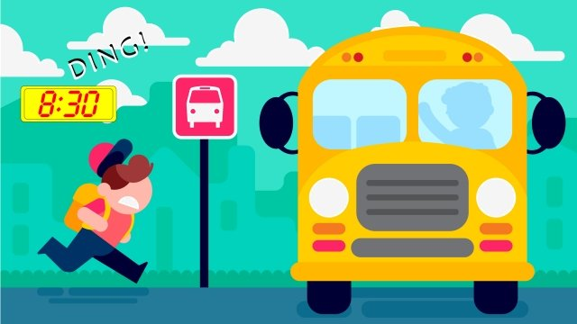 school bus child be late flying llustration image