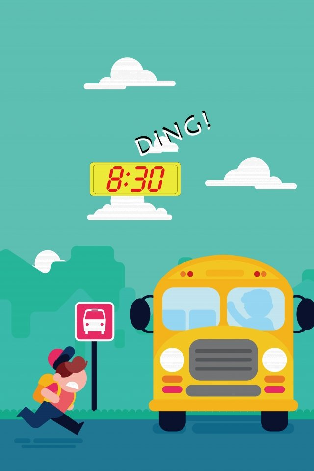 school bus child be late flying illustration image