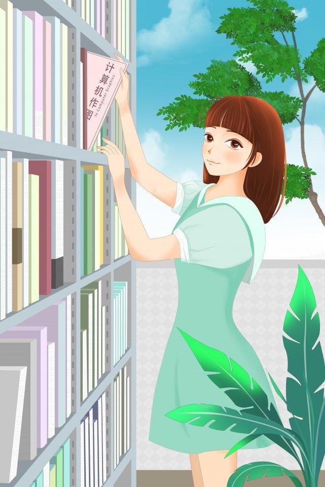 学校生活図書館で読書を学ぶ イラスト素材