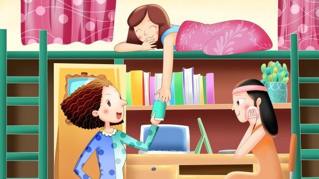 school season bedroom hand painted girl, Book, Make Up, Happy illustration image